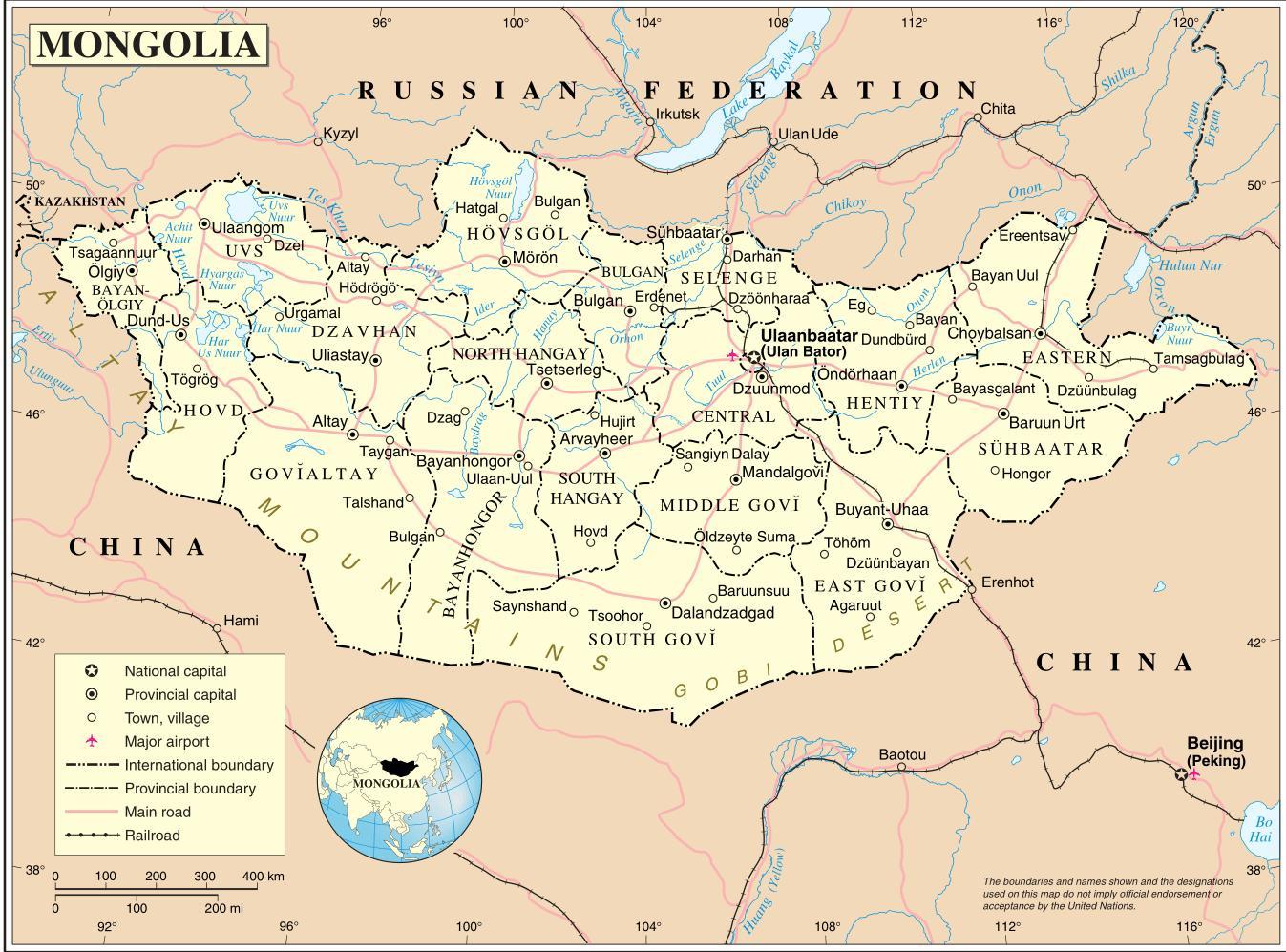 Kort Over Mongoliet Og De Omkringliggende Lande Mongoliet Land