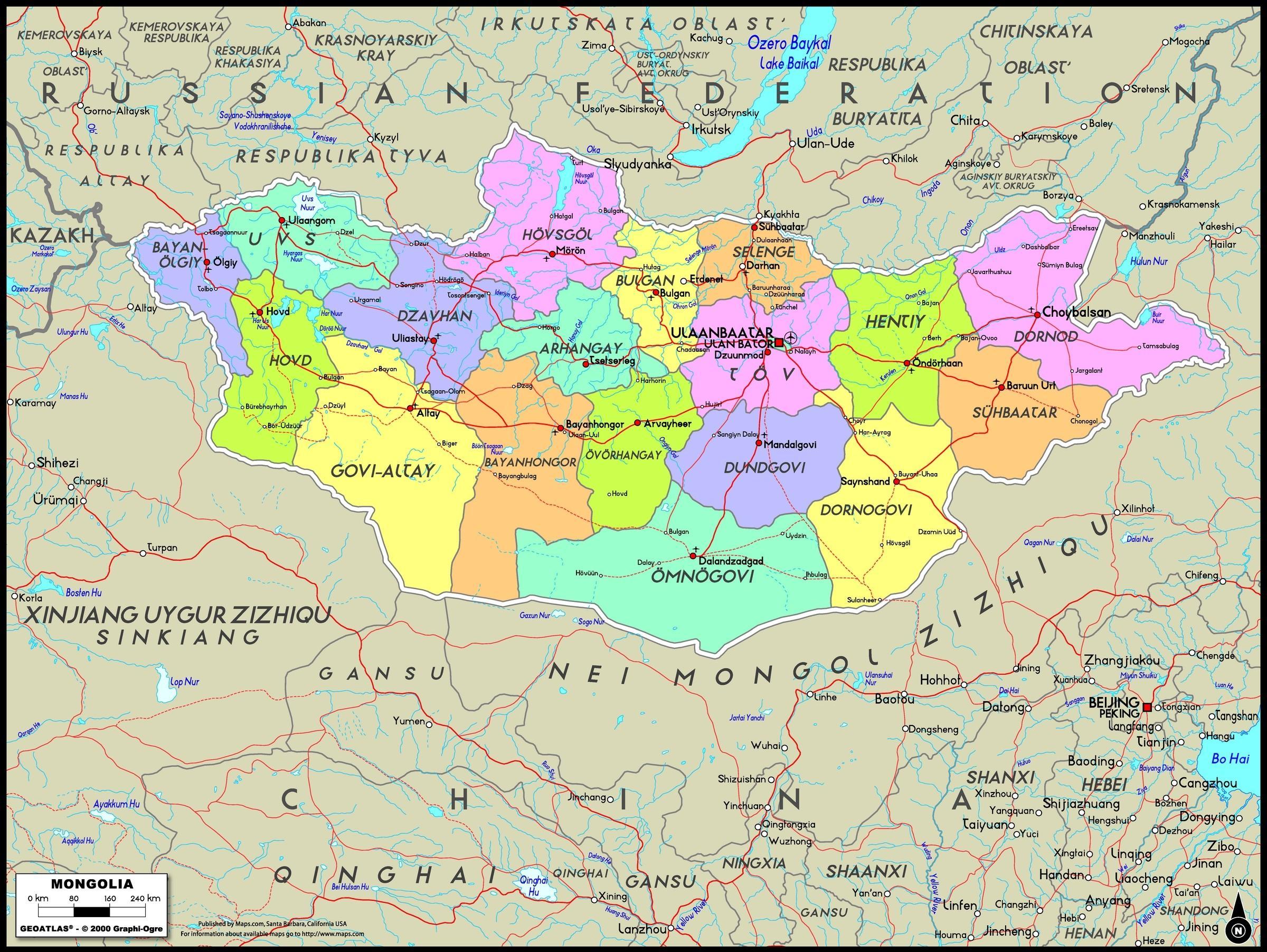 Kort Over Mongoliet Fysisk Kort Af Mongoliet Ostlige Asien Asien