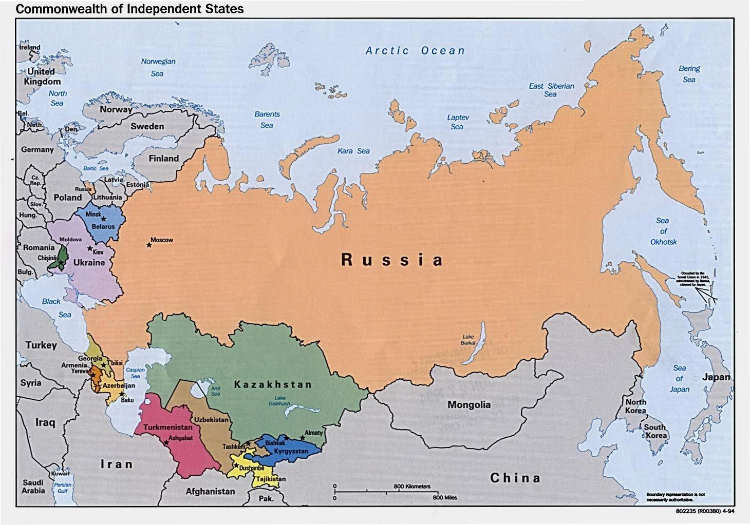 Rusland Mongoliet Kort Kort Over Rusland Mongoliet Ostlige