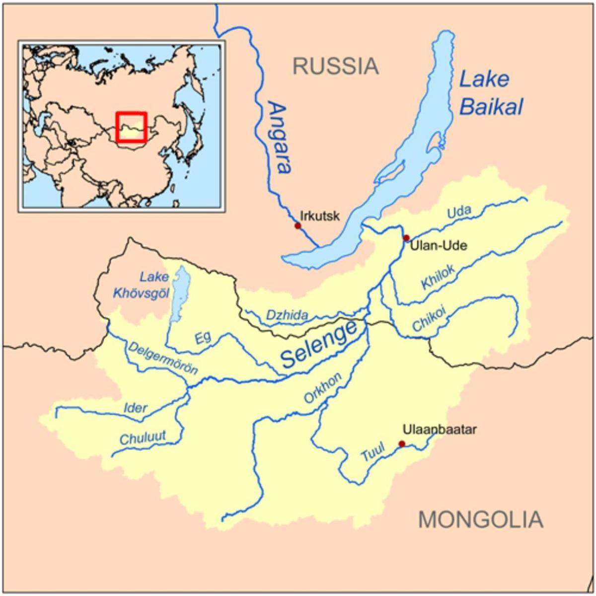 Mongoliet Floden Kort Kort Over Mongoliet Flod Det Ostlige